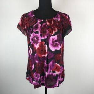Ann Taylor Silk Floral top with short sleeves